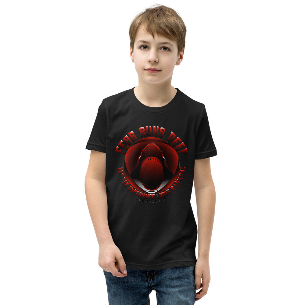 Fear Runs Deep (White/Red/Black Letters) Youth Short Sleeve T-Shirt