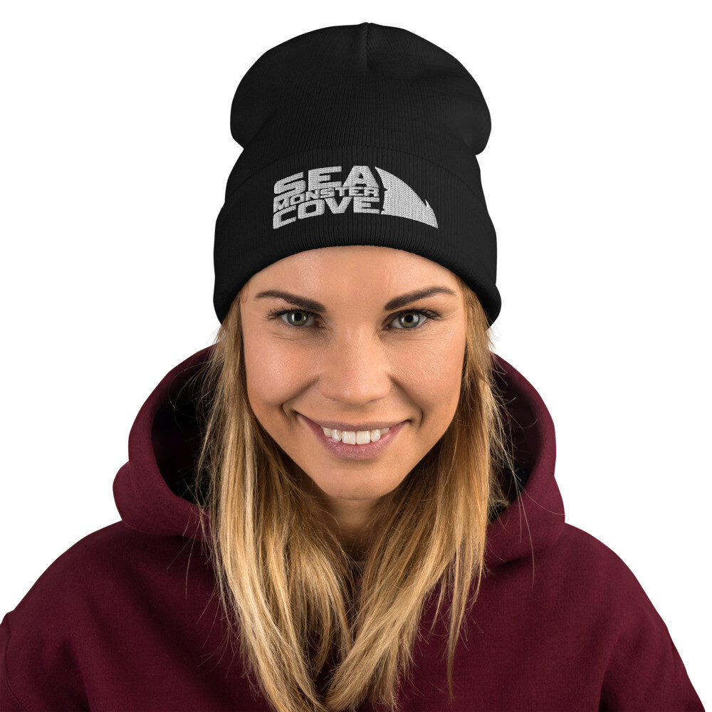 Sea Monster Cove (White Letters) Embroidered Beanie