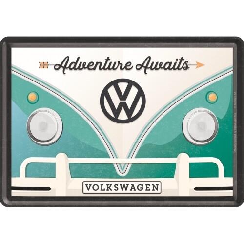 Blechpostkarte - VW Bulli Adventure Awaits