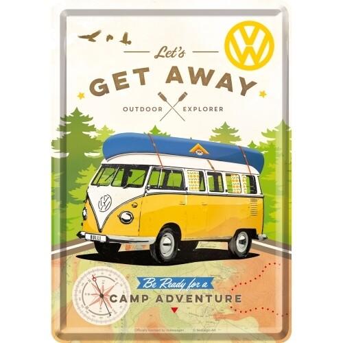 Blechpostkarte - VW Bulli Let´s Get Away!