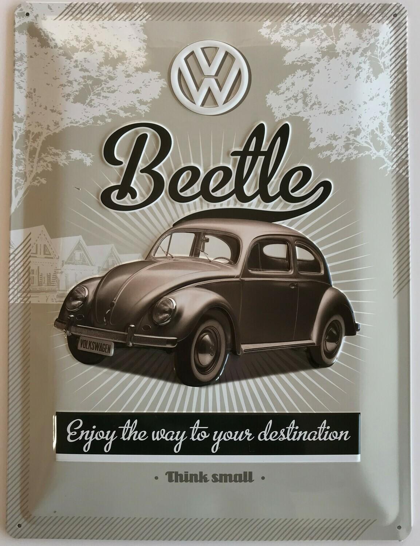 Enjoy The Way To Your Destination Käfer - Blechschild