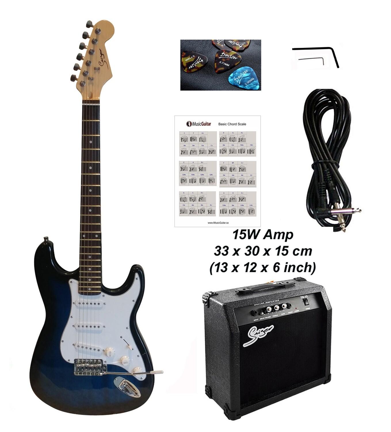 Electric Guitar 15W amp for beginners Dark Blue Stripe iMEG285AP