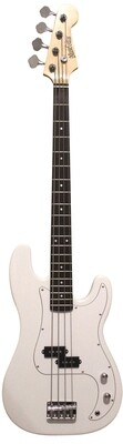 Bass Guitar 4 String P style White for Beginners iMEB872 with Soft bag, Patch Cord.