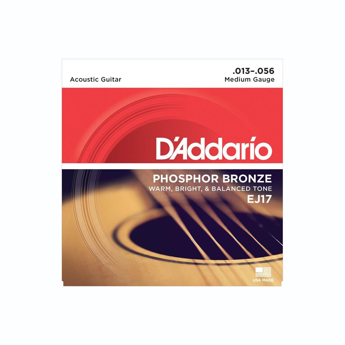 D'Addario EJ17-3D Phosphor Bronze Acoustic Guitar Strings, Medium, 13-56