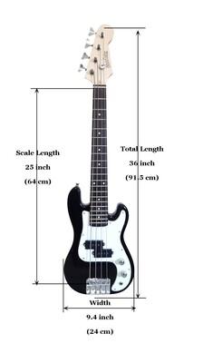 Mini Bass Guitar for Kids 36 inch Black PB565