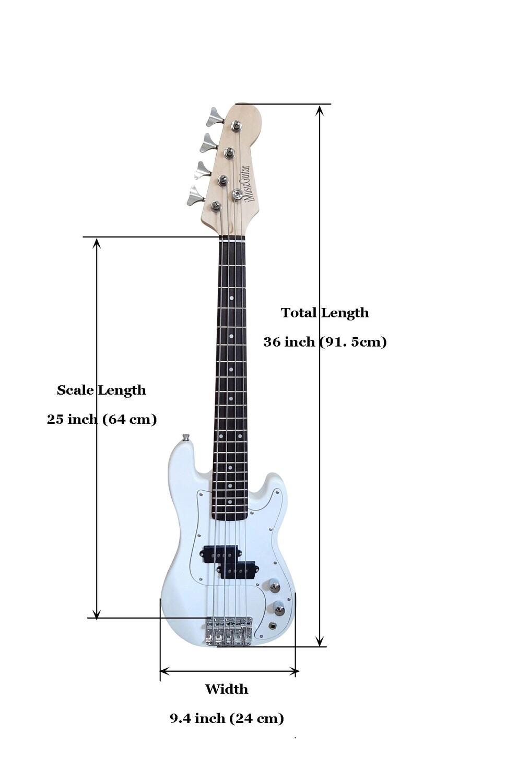 Mini Bass Guitar for Kids 36 inch White PB566