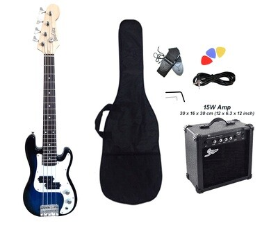 Mini Bass Guitar for Kids 36 inch Blue with Amp Pack PB567PK