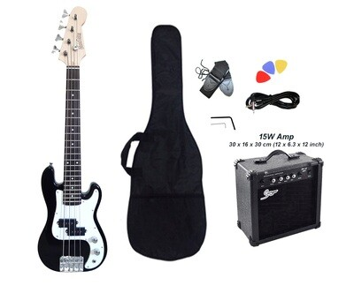 Mini Bass Guitar for Kids 36 inch Black with Amp Pack PB565PK