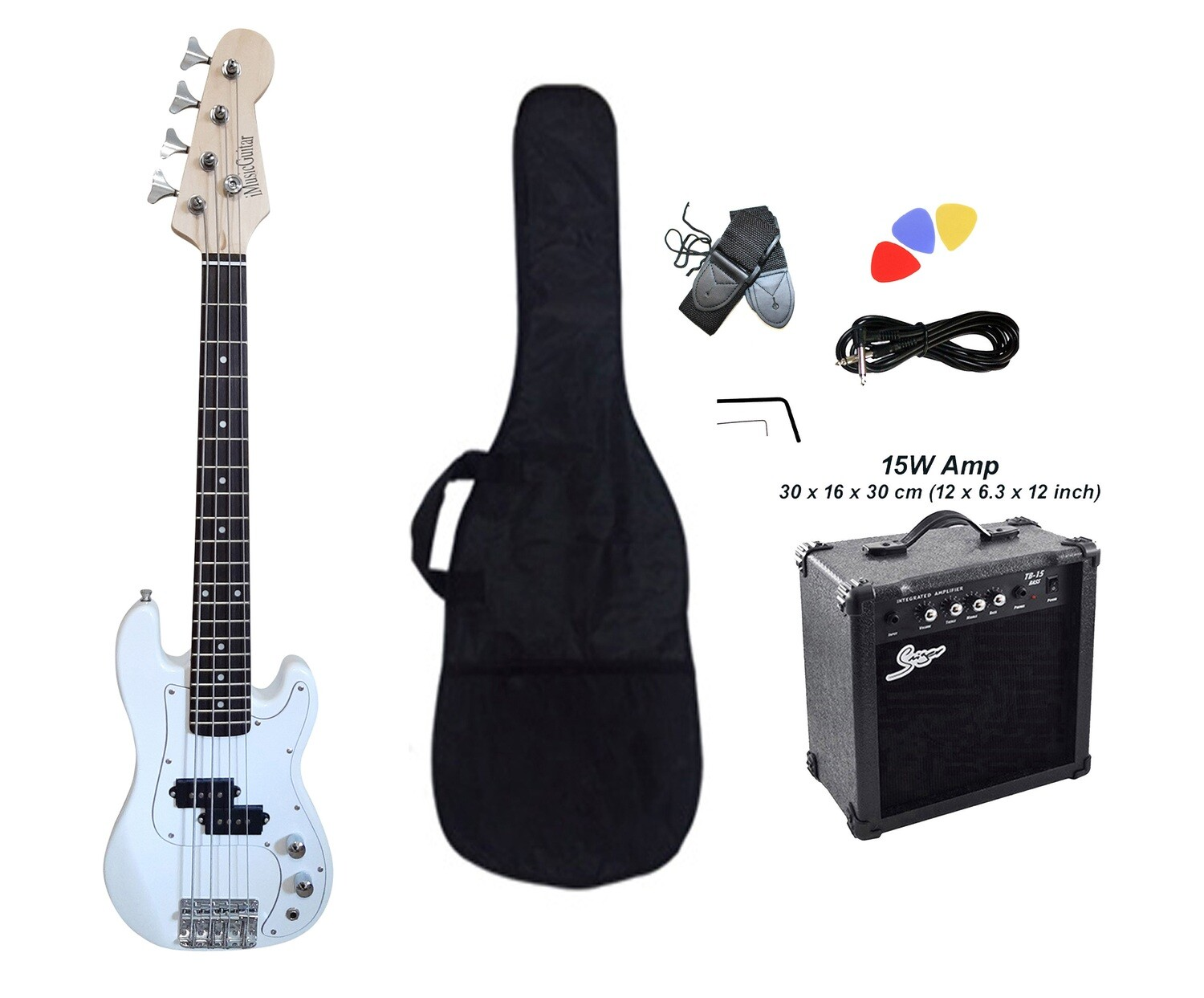 Mini Bass Guitar for Kids 36 inch White with Amp Pack PB566PK