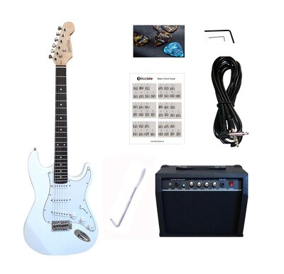 Electric Guitar 20W Amp Package for beginners White PG462