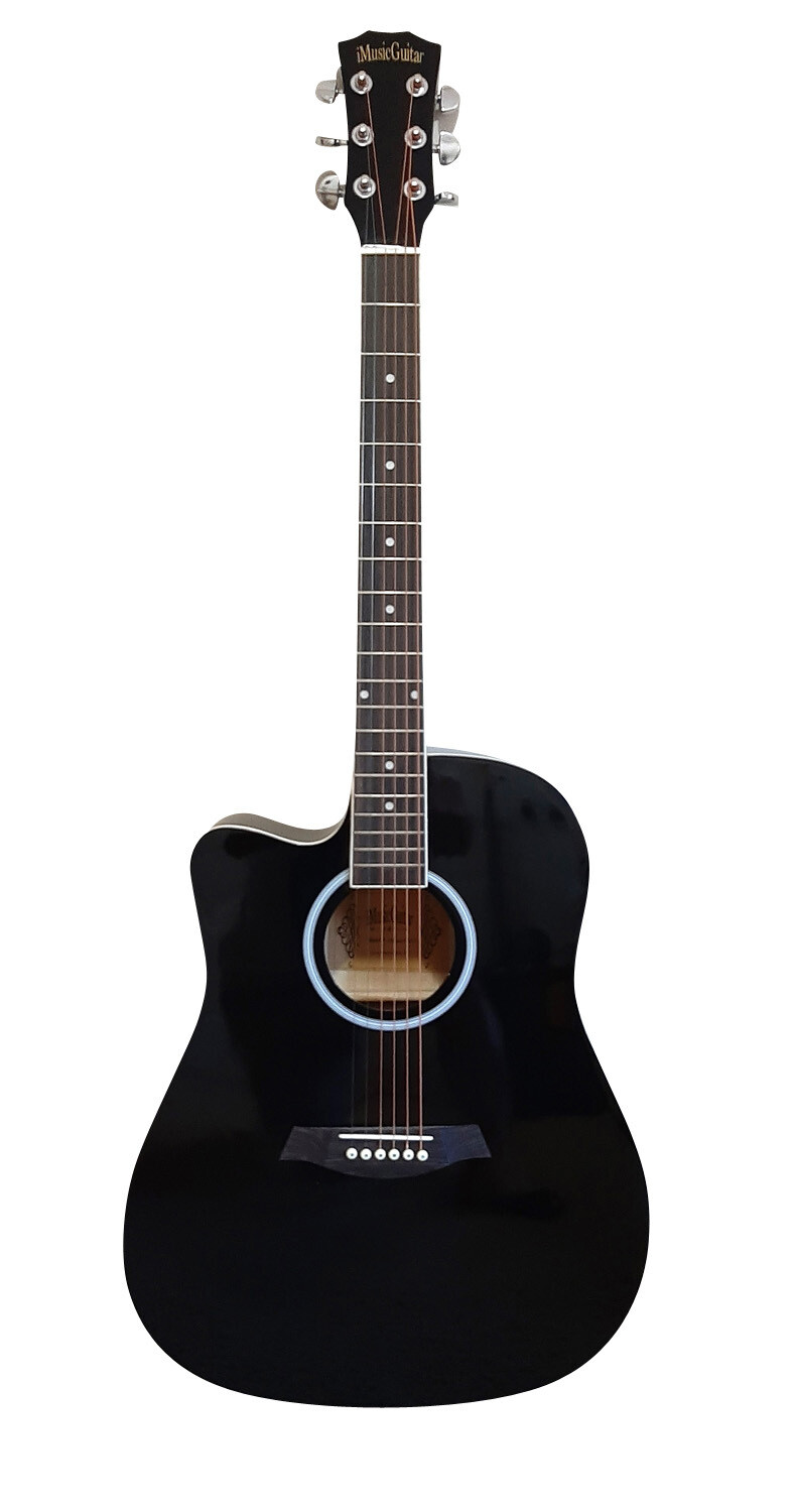 Blemish-Left handed Acoustic Guitar for beginners Black  iMusic642LF