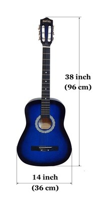 Classical Guitar Nylon Strings 38 inch for Children, Beginners Blue iMusic650
