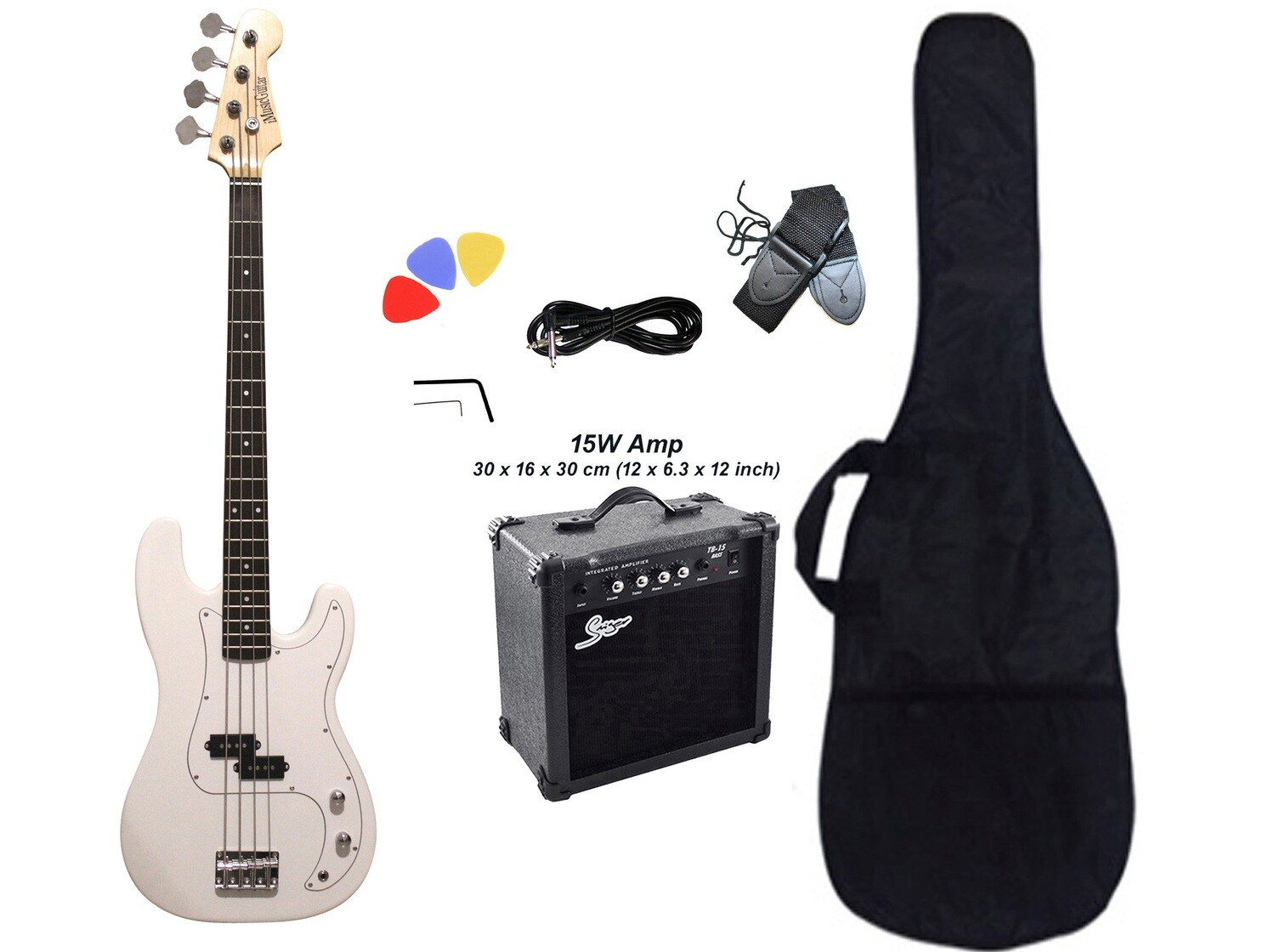 Bass Guitar with 15W Amp Package White for Beginners PB87215
