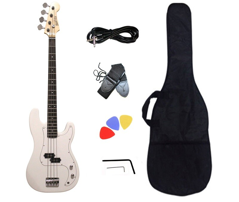 Bass Guitar 4 String P style White for Beginners PB872