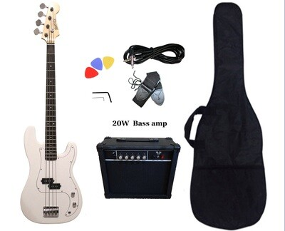 Bass Guitar 20W Amp Package White for Beginners PB87220