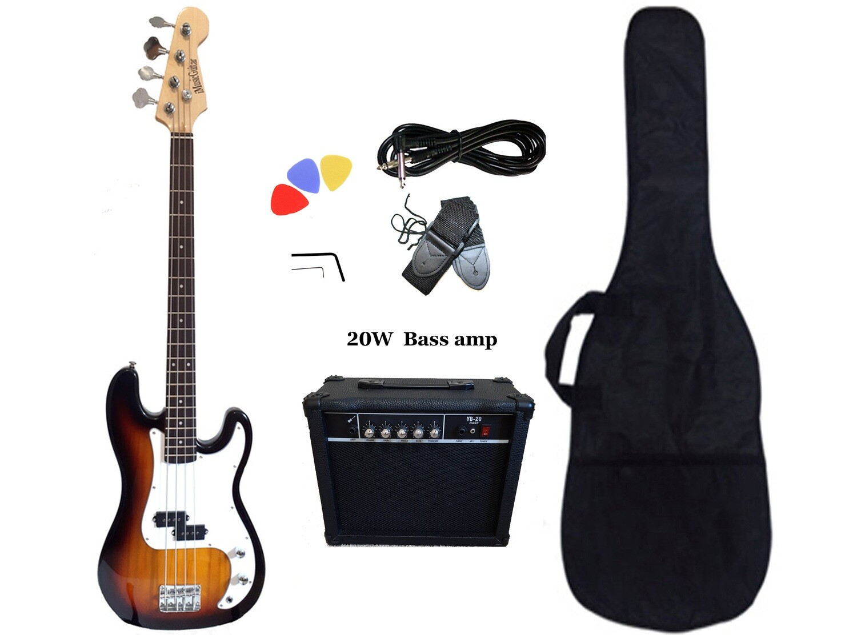 Bass Guitar 20W Amp Package Sunburst for Beginners PB87320