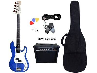 Bass Guitar 20W Amp Package 4 String P style Blue for Beginners PB87420