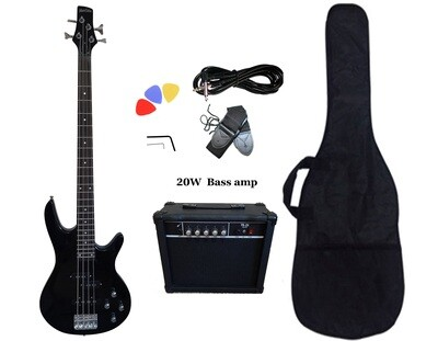 Bass Guitar 20W Amp Package 4 String Black for Beginners PB88520