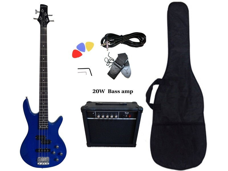 Bass Guitar 20W Amp Package 4 String Blue for Beginners PB88620