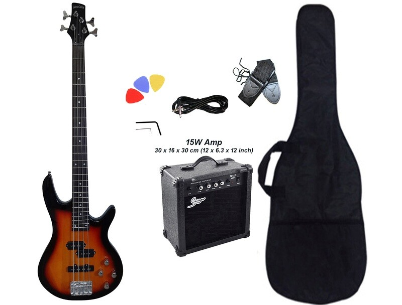 Bass Guitar 4 String Sunburst iMEB887PKT with 15W Amp Package
