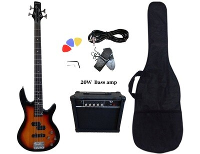 Bass Guitar 20W Amp Package Sunburst for Beginners PB88720