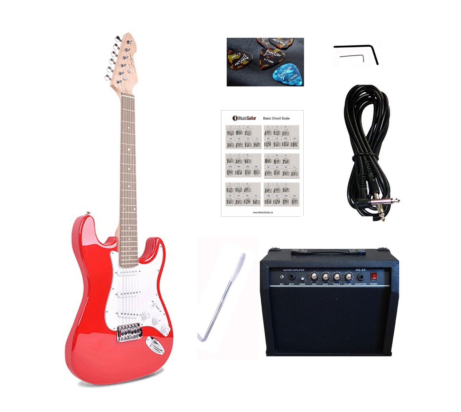 Electric Guitar 20W amp Package for beginners Red iMEG28320