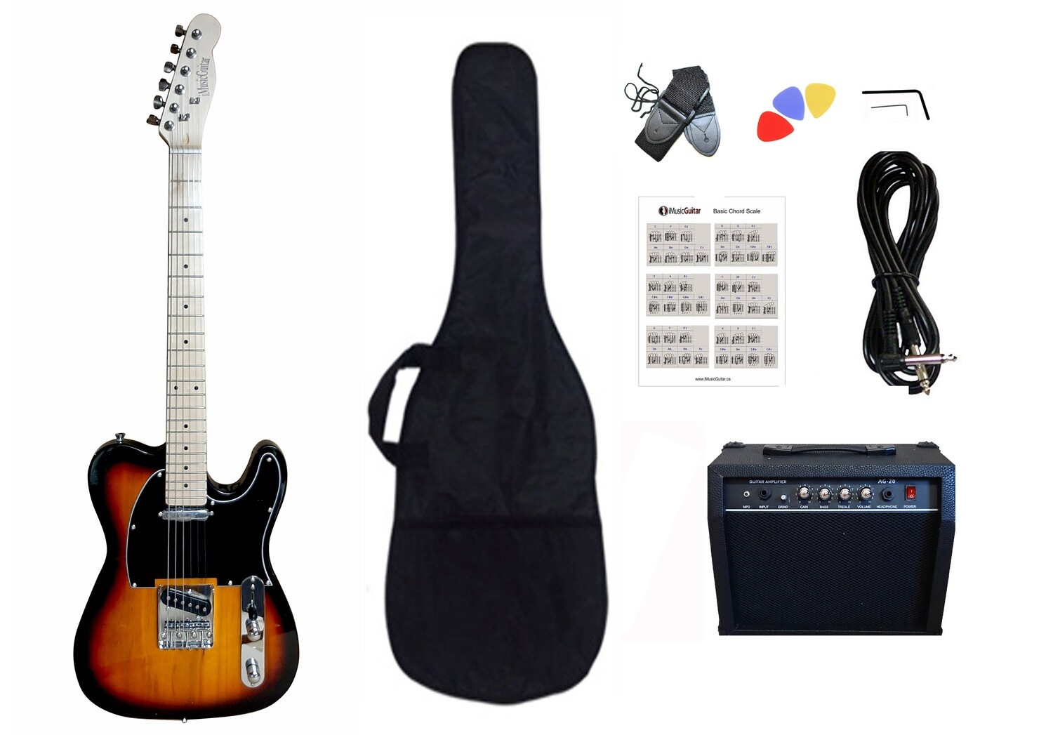 Electric Guitar 20W amp Package for beginners Sunburst PG365
