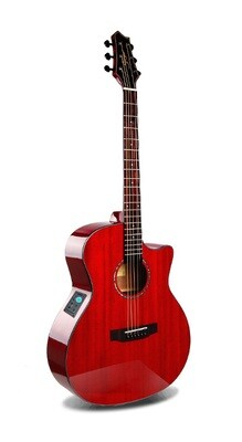 Acoustic Electric Guitar Built in Tuner Solid Top Mahogany Red PPL6873