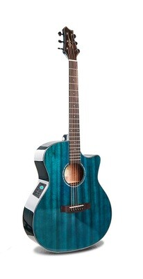 Acoustic Electric Guitar Built in Tuner Solid Top Mahogany Blue PPL6877
