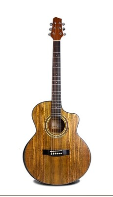 Acoustic Electric Guitar Built in Tuner Walnut Brown PPG894