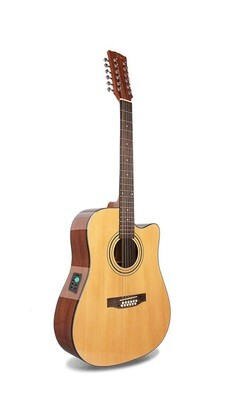 Acoustic Electric Guitar 12 Strings Built in Tuner, EQ Natural PPG536