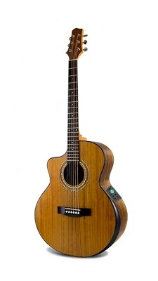 Left handed Acoustic Electric Guitar Built in Tuner Walnut PPG894LF
