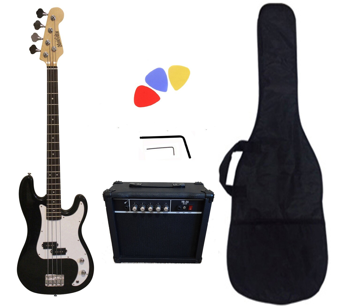 Bass Guitar 20W Amp Package Black for Beginners PB87120