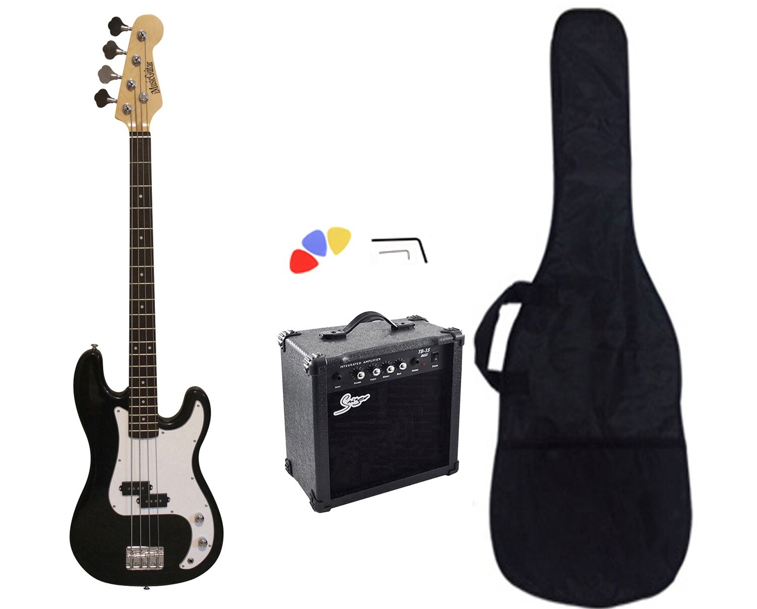 Bass Guitar with 15W Amp Package Black for Beginners PB87115