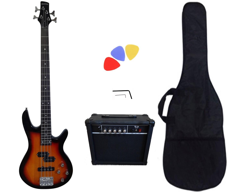 Factory Error-Bass Guitar 20W Amp Package Sunburst for Beginners PB88720