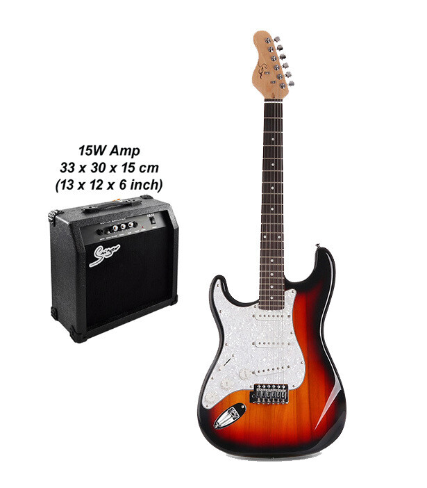 Left handed Electric Guitar with 15W amp Sunburst PE328LFPK
