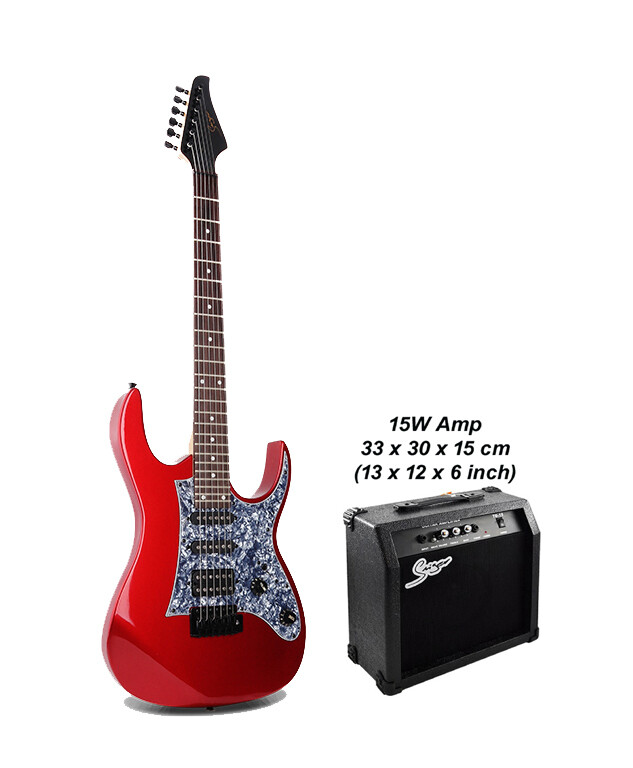 Electric Guitar 24 Fret with 15W amp Red Premium PPE798PK