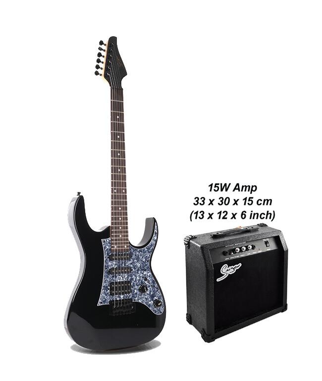 Electric Guitar 24 Fret with 15W amp Black Premium PPE796PK