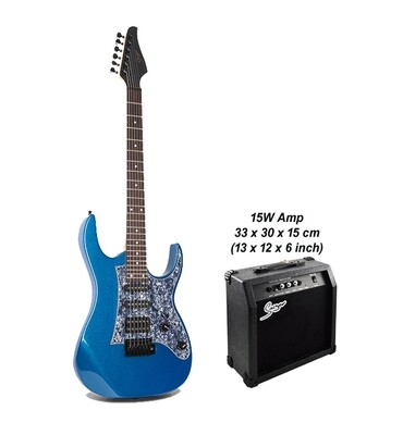 Electric Guitar 24 Fret with 15W amp Blue Premium PPE797PK