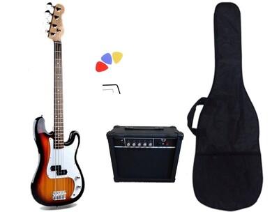 Bass Guitar 20W Amp Package sunburst for Beginners PB83420