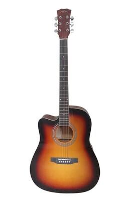 Left handed Acoustic Guitar for beginners, Students Sunburst Full Size SPS370LF