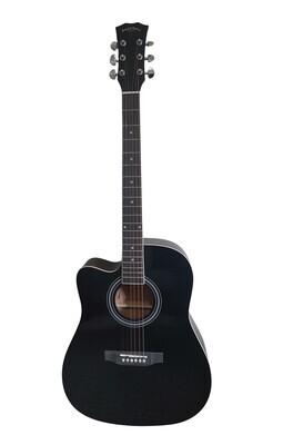 Left handed Acoustic Guitar for beginners, Students Black Full Size SPS342LF