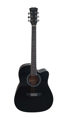 Acoustic Guitar for beginners, Students Black Full Size SPS373