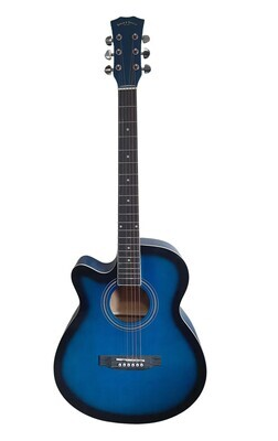 Left handed Acoustic Guitar for beginners, Students 40 inch Full Size Blue SPS375LF