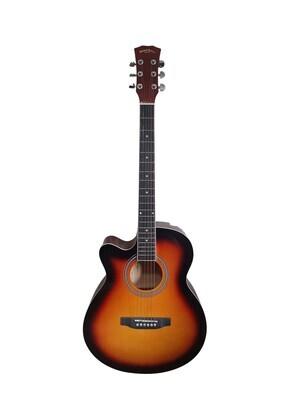 Left handed Acoustic Guitar for beginners, Students 40 inch Full Size Sunburst SPS376LF