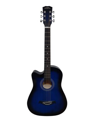 Left handed Acoustic Guitar 38 inch for Beginners, Children, Small hand adults Blue SPS334LF