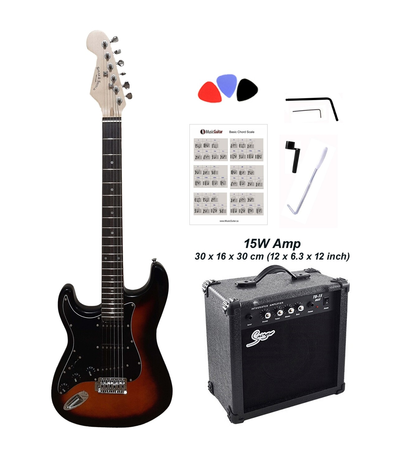 Left handed Electric Guitar Standard size for beginners, Students Sunburst SPS519LF 15W Package