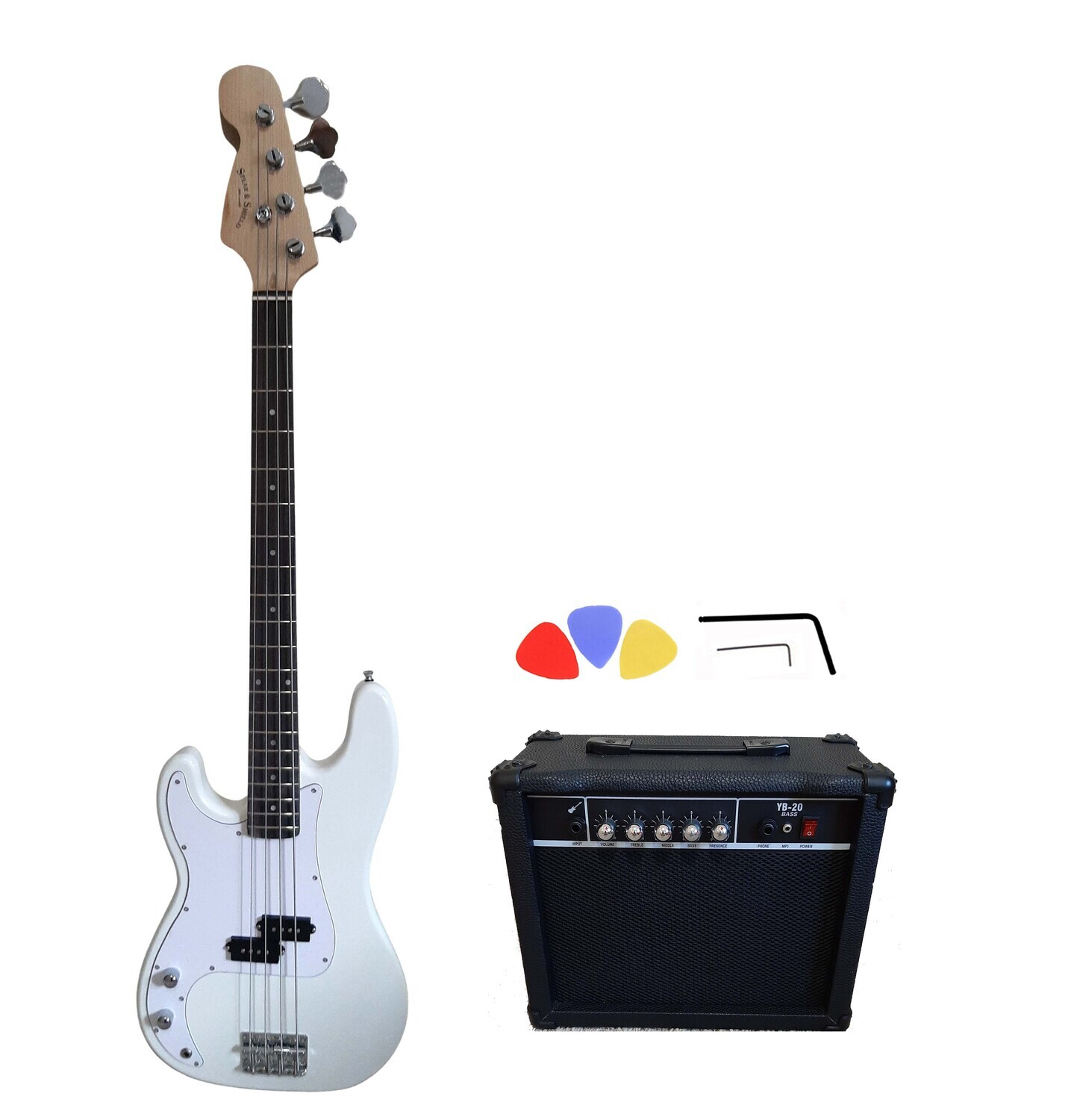 Left handed Bass Guitar for Beginners Regular Size White SPS512LF20 with 20W Amp pack