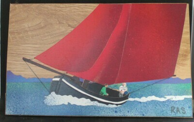 Galway Hooker wooden mosaic picture