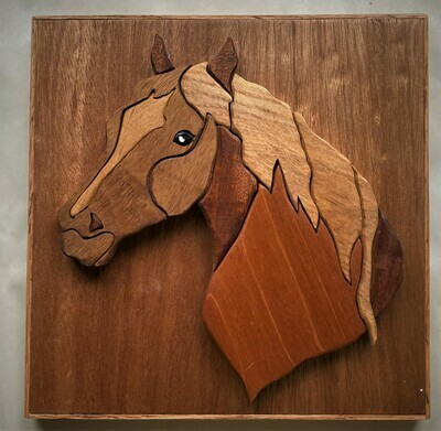 Wooden intarsia horse picture